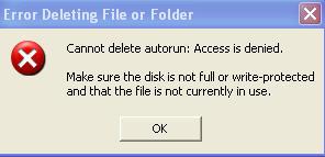 error deleting file or folder virus error