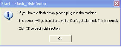 running flash disinfector to remove pen drive virus