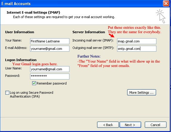 gmail imap settings within outlook
