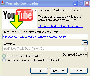 downloading youtube for ipod use