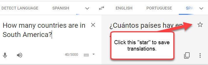 saving translations in Google Translate